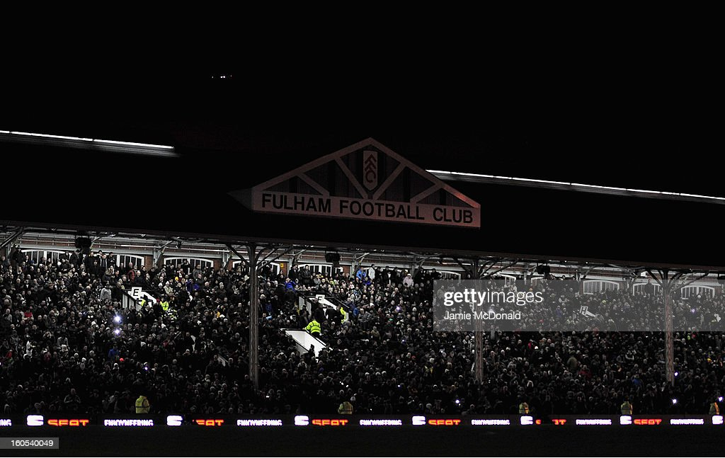 The floodlights fail which leaves the ground in darkness during the Barclays Premier League match between Fulham and Manchester United at Craven Cottage on February 2, 2013 in London, England.