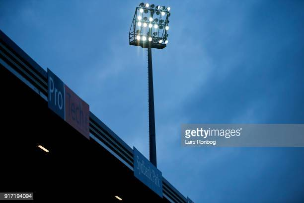 The floodlights on the stadium during the Danish Alka Superliga match between Sonderjyske and FC Nordsjalland at Sydbank Park on February 11 2018 in...
