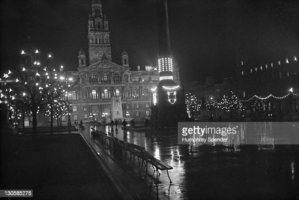 The floodlit City Chambers in Glasgow with the Cenotaph in front Scotland 1939 Original Publication Picture Post 91 Glasgow pub 1st April 1939