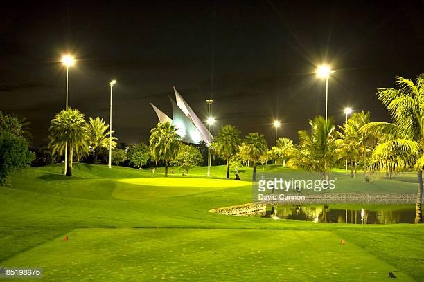 The floodlit par 3 course at the Dubai Creek Golf and Yacht Club on January 20 2009 in Dubai United Arab Emirates