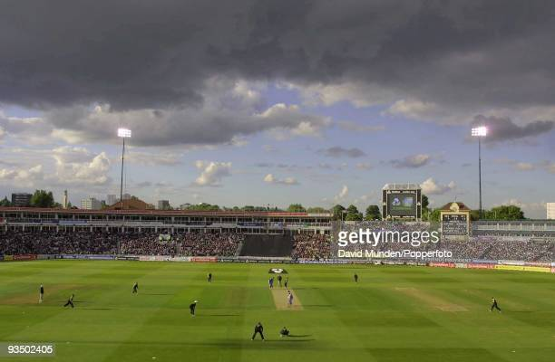 The flooldights begin to take effect as England begin their innings during the Day/Night NatWest International between England and Pakistan at...