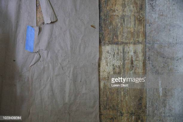The floor inside the home of local resident Dorothy Wanza which was badly damaged by Hurricane Harvey is pictured in the Kashmere Gardens...