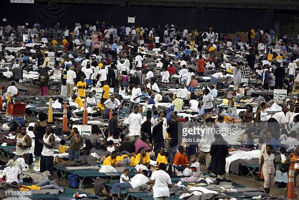 The floor of the Houston Astrodome is covered by Hurricane Katrina refugees from the New Orleans Superdome arrive at the Houston Astrodome, September...