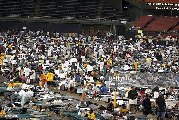 The floor of the Houston Astrodome is covered by Hurricane Katrina refugees from the New Orleans Superdome arrive at the Houston Astrodome September...