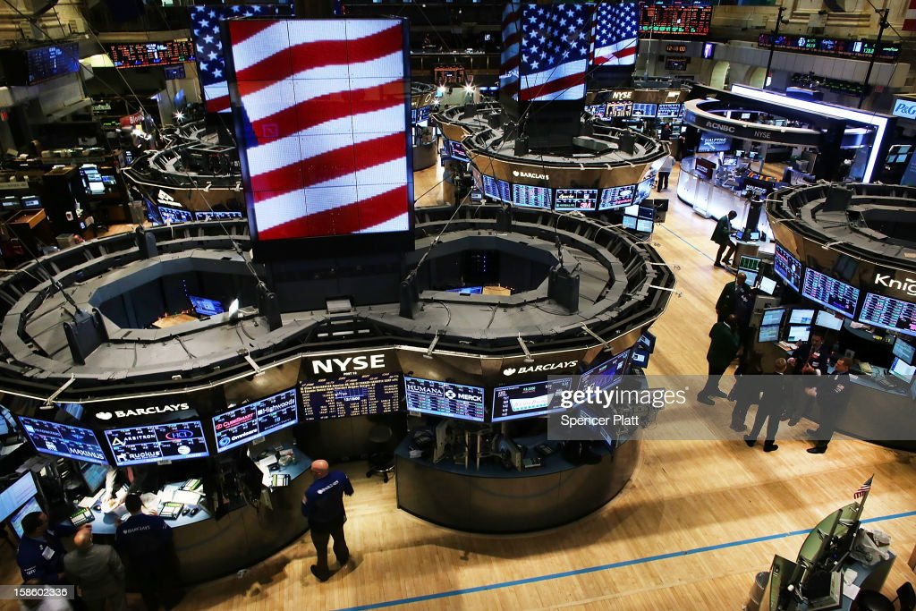 The floor of the New York Stock Exchange (NYSE) is viewed on December 20, 2012 in New York City. Founded in 1817, New York Stock Exchange has agreed to an $8.2 billion takeover from IntercontinentalExchange (ICE). NYSE Euronext, the stock exchange's holding company, has agreed to an offer of $33.12 a share in cash and stock from the Atlanta-based energy trader.