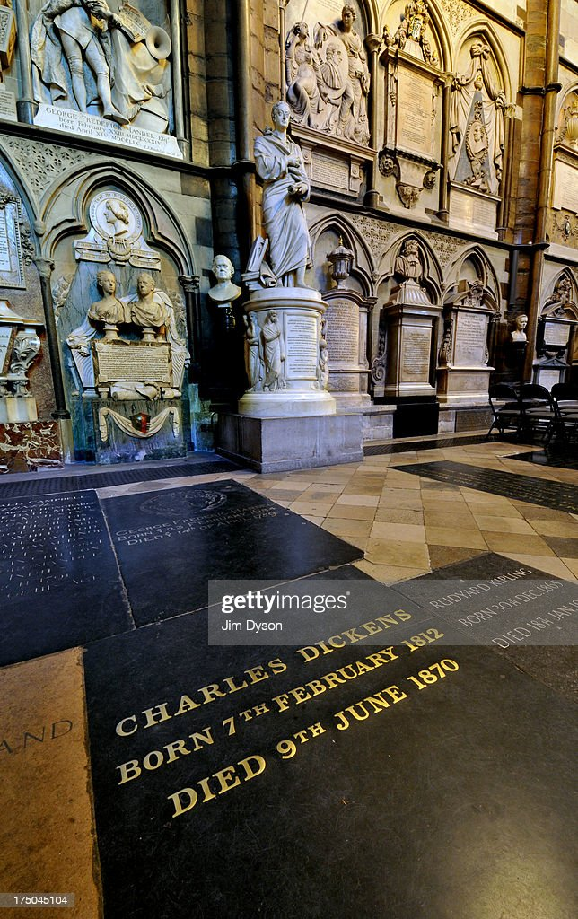 The floor tomb of author Charles Dickens in the south transept of Westminster Abbey, also known as Poet's Corner, on November 29, 2012 in London, England. Dead Famous London is a journey through the capital's cemeteries, churches, cathedrals, crypts and crematoria discovering its historic famous graves.