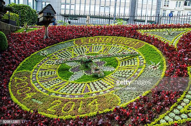 The Floral Clock in Princes Street Gardens West Edinburgh Scotland The clock was the first of its kind in the World and is located near to the...