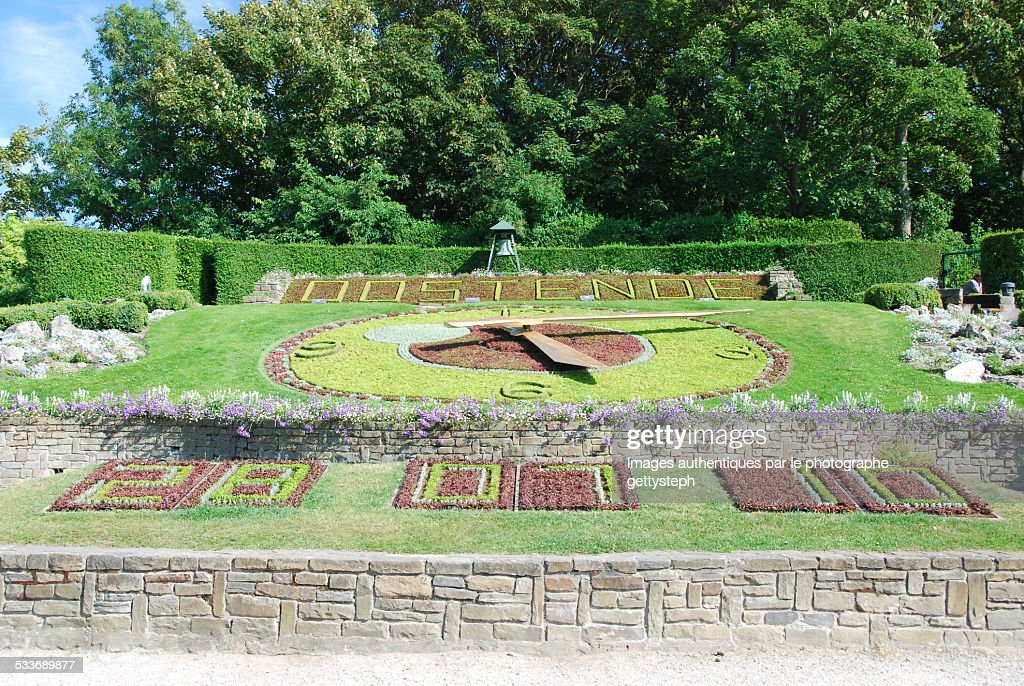 The floral clock of Ostend : Foto stock