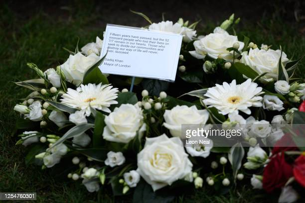The floral tribute presented by Mayor of London Sadiq Khan is seen at the 7/7 memorial in Hyde Park to mark the fifteenth anniversary of the London...