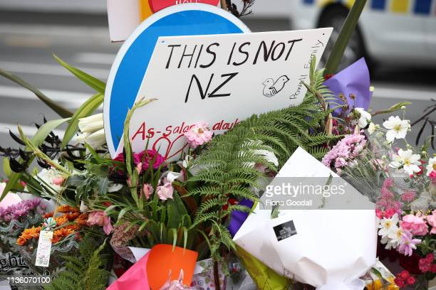 The floral tributes grow near the Al Noor mosque on Deans Rd on March 16 2019 in Christchurch New Zealand At least 49 people are confirmed dead with...