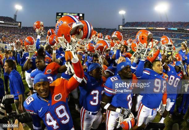 The Florida Gators celebrate after defeating the Georgia Bulldogs at Alltel Stadium on October 29, 2005 in Jacksonville, Florida. Florida defeated...