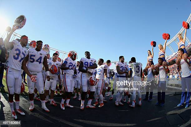The Florida Gators celebrate after defeating the South Carolina Gamecocks 2414 at WilliamsBrice Stadium on November 14 2015 in Columbia South Carolina