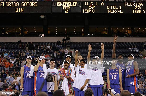 The Florida Gators celebrate after defeating the UCLA Bruins during the National Championship game of the NCAA Men's Final Four on April 3 2006 at...
