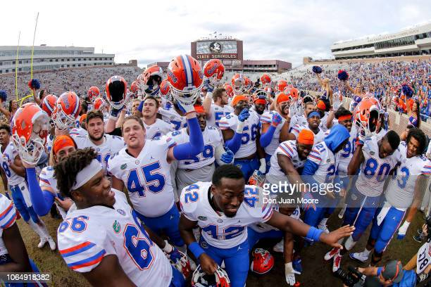 The Florida Gators celebrate after the game against the Florida State Seminoles at Doak Campbell Stadium on Bobby Bowden Field on November 24 2018 in...