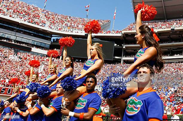 The Florida Gators cheerleaders perform during the game against the Alabama Crimson Tide at BryantDenny Stadium on September 20 2014 in Tuscaloosa...