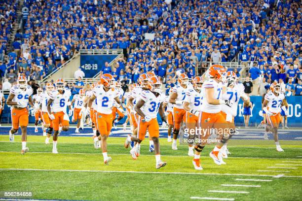The Florida Gators enter the field before a regular season college football game between the Florida Gators and the Kentucky Wildcats on September 23...