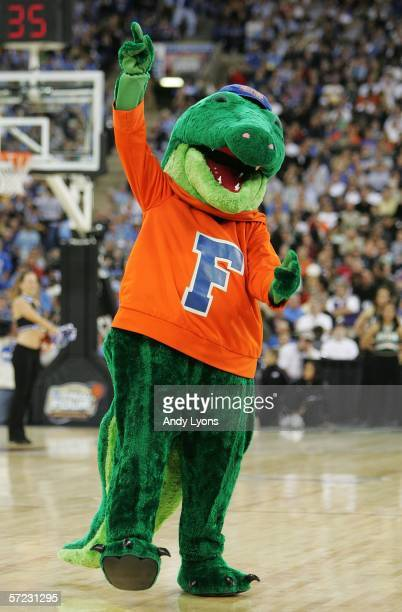 The Florida Gators mascot cheers on the crowd against the George Mason Patriots during the semifinal game of the NCAA Men's Final Four on April 1,...