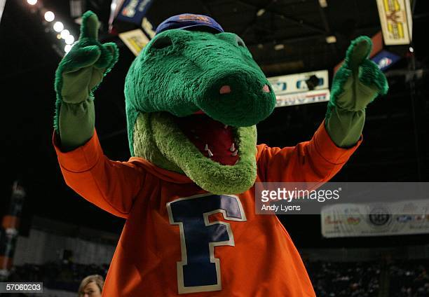 The Florida Gators mascot entertains the crowd against the LSU Tigers during the semifinals on day 3 of the SEC Men's Basketball Conference...