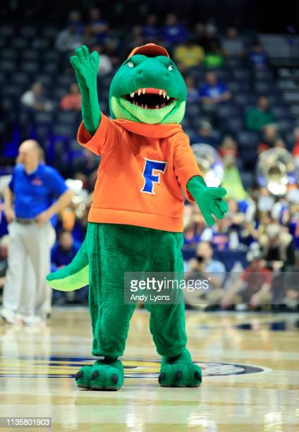 The Florida Gators mascot performs in the game against the Arkansas Razorbacks during the second round of the SEC Basketball Tournament at...