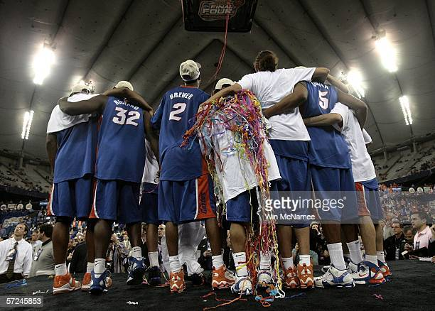The Florida Gators pose for a picture after defeating the UCLA Bruins 7357 during the National Championship game of the NCAA Men's Final Four on...
