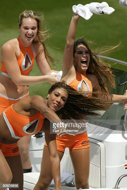 The Florida Marlins Mermaids show off their new outfits during the game against the Montreal Expos on April 6 2004 at Pro Player Stadium in Miami...