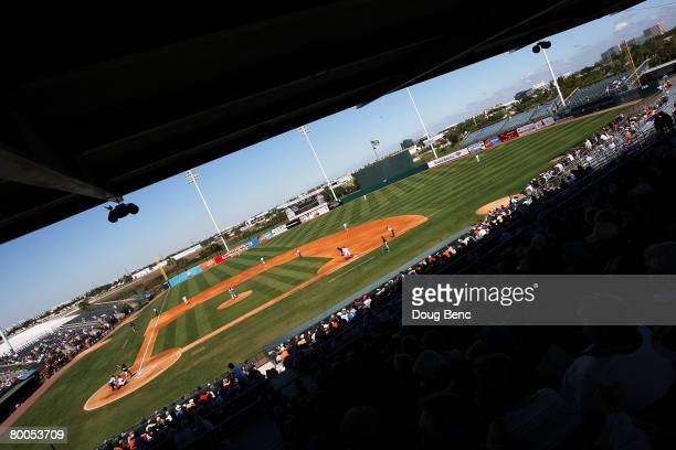 The Florida Marlins take on the Baltimore Orioles at Fort Lauderdale Stadium February 28, 2008 in Fort Lauderdale, Florida. The Marlins defeated the...