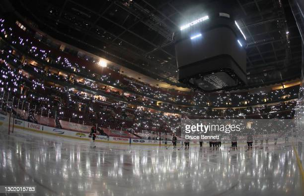 The Florida Panthers and the Tampa Bay Lightning hold a moment of silence for the three year anniversary of the shootings at Florida's Marjory...