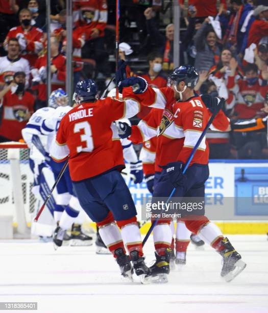 The Florida Panthers celebrate a goal by Aleksander Barkov against the Tampa Bay Lightning at 9:41 of the first period in Game One of the First Round...
