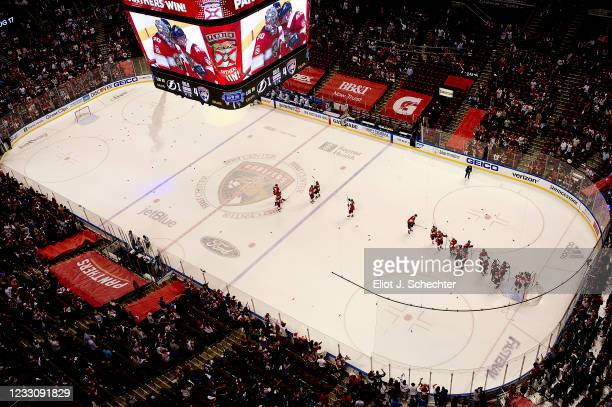 The Florida Panthers celebrate their 4-1 win over the Tampa Bay Lightning in Game Five of the First Round of the 2021 Stanley Cup Playoffs at the...
