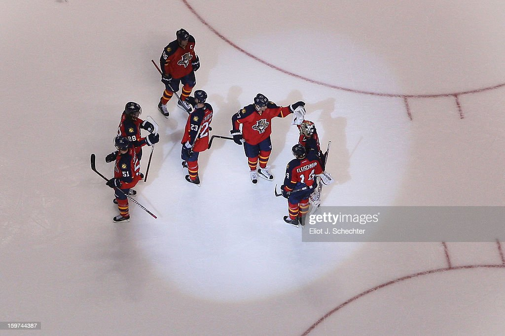The Florida Panthers celebrate their 5-1 win against the Carolina Hurricanes at the BB&T Center on January 19, 2013 in Sunrise, Florida.