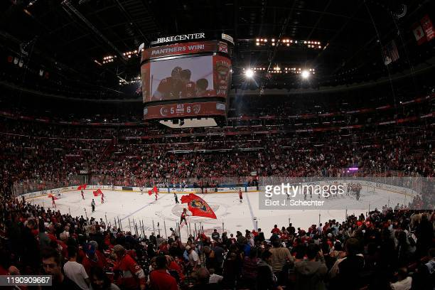 The Florida Panthers celebrate their 6-5 win over the Montreal Canadiens at the BB&T Center on December 29, 2019 in Sunrise, Florida.