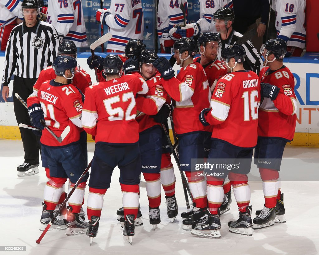 The Florida Panthers celebrate their shootout win against the New York Rangers at the BB&T Center on March 10, 2018 in Sunrise, Florida. The Panthers defeated the Rangers 4-3 in a shootout.