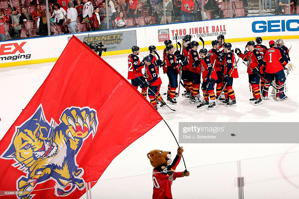The Florida Panthers celebrate their win against the Washington Capitals at the BB&T Center on December 10, 2015 in Sunrise, Florida.