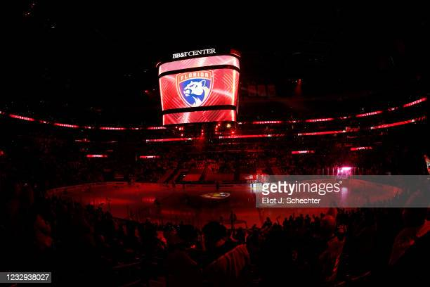 The Florida Panthers enter the ice prior to the start of the game against the Tampa Bay Lightning in Game One of the First Round of the 2021 Stanley...