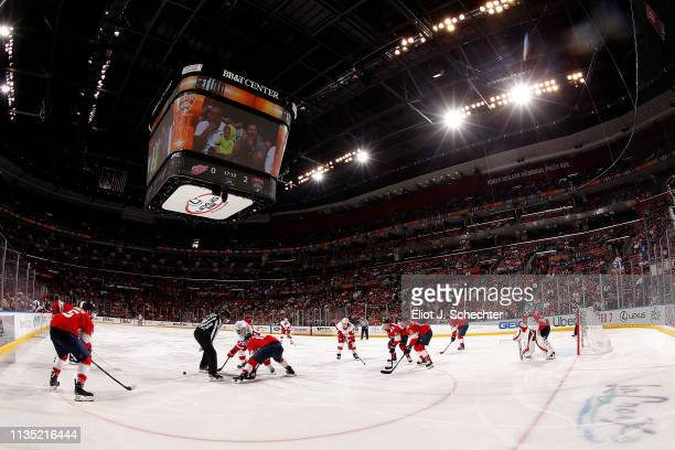 The Florida Panthers face off against the Detroit Red Wings at the BB&T Center on March 10, 2019 in Sunrise, Florida.