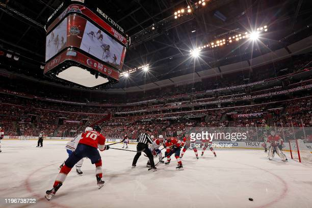 The Florida Panthers face off against the visiting Montreal Canadiens at the BB&T Center on December 29, 2019 in Sunrise, Florida.