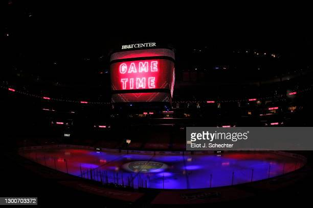 The Florida Panthers get set for game time against the visiting Nashville Predators at the BB&T Center on February 5, 2021 in Sunrise, Florida.