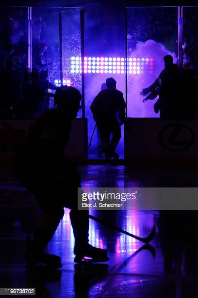 The Florida Panthers head out to the ice for introductions prior to the start of the game against the Montreal Canadiens at the BB&T Center on...