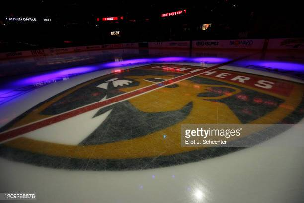The Florida Panthers logo on the ice prior to the start of the game against the Toronto Maple Leafs at the BB&T Center on February 27, 2020 in...