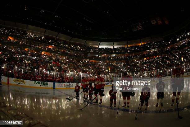 The Florida Panthers pause for a pregame moment of silence honoring the victims at Marjory Stoneman Douglas High School on the two-year anniversary...