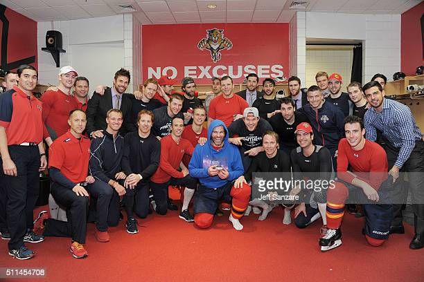 The Florida Panthers pose with teammate Jaromir Jagr after the game against the Winnipeg Jets Jaromir Jagr scored his 742nd goal moving him into...