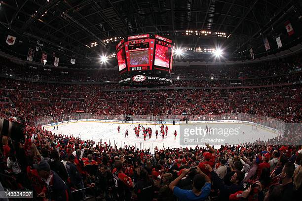 The Florida Panthers salute the fans after beating the New Jersey Devils 3-0 in Game Five of the Eastern Conference Quarterfinals during the 2012 NHL...