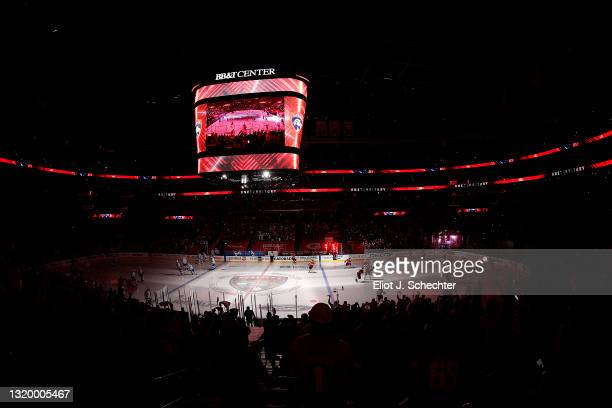 The Florida Panthers take the ice along with the Tampa Bay Lightning prior to the start of Game Five of the First Round of the 2021 Stanley Cup...