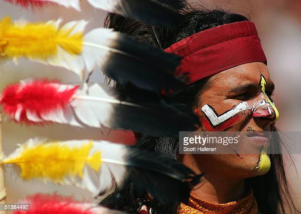 The Florida State Seminole mascot watches a play during the game between Florida State and North Carolina at Doak Campbell Stadium on October 2 2004...