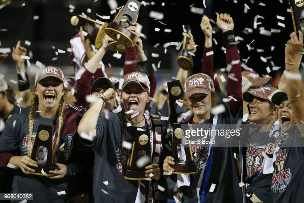 The Florida State Seminoles celebrate after defeating the Washington Huskies during the Division I Women's Softball Championship held at USA Softball...