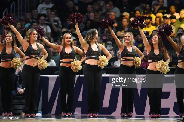 The Florida State Seminoles cheerleaders perform against the Gonzaga Bulldogs during the first half in the 2018 NCAA Men's Basketball Tournament West...