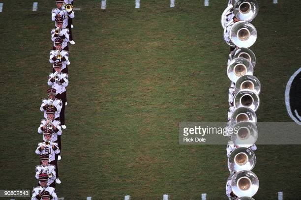 The Florida State Seminoles Marching Band plays prior to the game against the Jacksonville State Gamecocks at Doak Campbell Stadium on September 12...