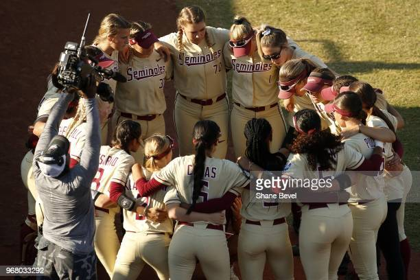 The Florida State Seminoles take on the Washington Huskies during the Division I Women's Softball Championship held at USA Softball Hall of Fame...