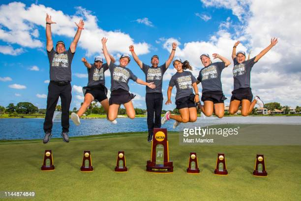 The Florida Tech Women's Golf team gets air with their trophies following Tech's team win for the Division II Women's Golf Championship held at the...