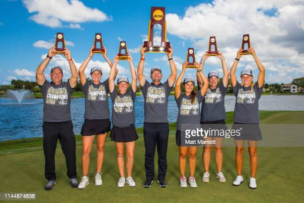 The Florida Tech Women's Golf team poses with their trophies following their team win for the Division II Women's Golf Championship held at the PGA...